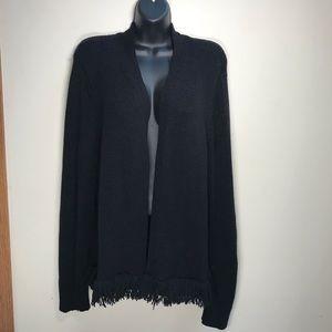 LOFT Open Cardigan with Fringe Hemline, Size XL